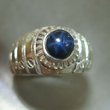 1.85cts Natural blue ray star, blue sapphire 925 Silver unisex ring 7, or resize