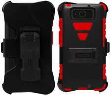 RED BLACK TRI-SHIELD CASE STAND BELT CLIP HOLSTER FOR MOTOROLA DROID MAXX/ULTRA