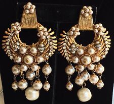 Outstanding Vintage Miriam Haskell Earrings~Pearls/Crystals/RS/Gilt Filigree