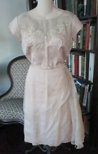 1940's Pale Pk CREPE COCKTAIL ? DRESS  Bodice Accented  with LACE & BEADS Sz 14