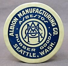 ALBION MFG. CO. ASBESTOS RUBBER GOODS Seattle WASH. paperweight pocket mirror *