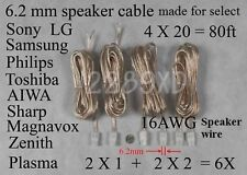 6 speaker wires 6.2mm 80ft 16AWG made for select Sony Samsung LG Philips HT/TV