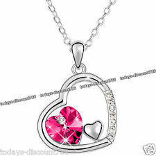 Unique Pink Crystal Heart Necklace Love Silver Valentine Gift For Her Wife Women