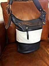 Auth Coach Navy White Stripe Leather Rugby Duffle Bucket Purse Crossbody 13357
