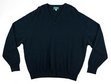 Men's ALAN PAINE Navy Blue Extrafine Cashmere V-Neck Sweater 2XL 2XB $275