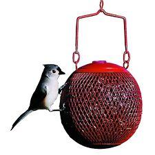 Hanging Wild Bird Feeder Seed Ball Garden Outdoor Red Metal Mesh Squirrel Proof