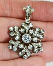 Antique 900 SILVER Victorian White Paste SNOWFLAKE Flower PENDANT - French?