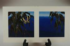 David Stacey Diptych Print Tropical Foliage & Butterfly Zodiac Moth D.H. Stacey