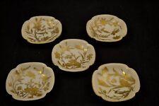 Ackermann Fritz Set of 5 Butter Pats Beehive Mark Gold Encrusted Butterflys