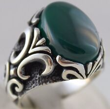 Turkish Handmade Ottoman 925 Sterling Silver Green Agate Stone Men Ring Size 11