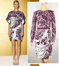 $2,100 GUCCI DRESS FLORAL PRINT SILK LONG SLEEVES sz  IT 42 US 6