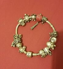 authentic sterling silver pandora bracelet with 14 charms animals  7""