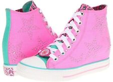 New Skechers Daddy's Money Gimme Star Studded Pink Hidden Wedge Sneakers 8.5 M