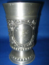 "5.5"" Antique  German Solid Pewter Embossed And Engraved  Cup 3  Scenes"