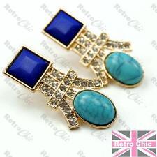 Blue&gold Moda Cristal Aretes Imitación De Turquesa Y Lapislázuli Strass Art Deco estilo fluido