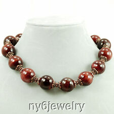 """Huge Shiny Red Tiger Eye Round Beads Necklace w/Antique Copper Tone Clasp 18"""""""