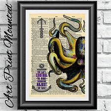 ART PRINT VINTAGE Dizionario libro pagina montato GIALLO Octopus nautico Muro Appeso