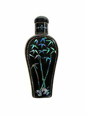 CHINESE LAC BURGAUTE Black Lacquer Snuff Bottle Bamboo Mother of Pearl  Inlay