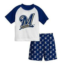 New Licensed Milwaukee Brewers Boys Pajama Set Shirt Shorts Size 4   TOO COOL!