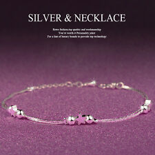 Women 925 Sterling Silver Crystal Chain Bangle Cuff Charm Bracelet Jewelry