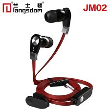 Langston JM-02 Flat Cable In-Ear Stereo Earphone Headphone With Mic in (Red)