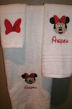 Minnie Mouse Face Personalized 3 Piece Bath Towel Set Your Color Choice