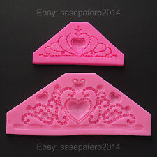 Princess Tiara Crown silicone molds for fondant, resin, clay 2 pcs. LOT