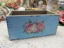 SHABBY CHIC WOODEN BOX WITH JUTE HANDLES, AQUA/PINK ROSES, DISTRESSED, COTTAGE