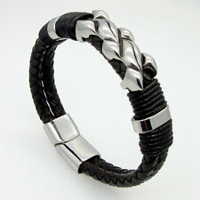8.5'' Large Stainless Steel Magnet Clasp Genuine Leather Bracelet Men Bangle