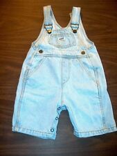 Guess Girls Size 12-18 Months Denim Light Blue Jean Overalls Shorts 5 Pockets
