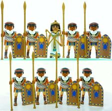 Playmobil 9 EGYPTIAN SOLDIERS Arab Guard Figures Queen Cleopatra Shields Spears