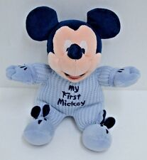 """Disney My First Mickey Mouse Plush Blue Thermal Rattle Stuffed Bunny Slippers 9"""""""