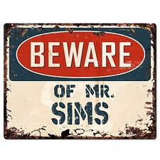 PP2722 BEWARE OF MR. SIMS Plate Chic Sign Home Store Wall Decor Funny Gift