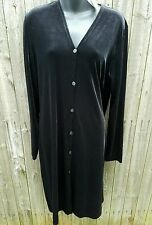NWT DKNY Black Button Up Velvet Duster Holiday Long Jacket Large