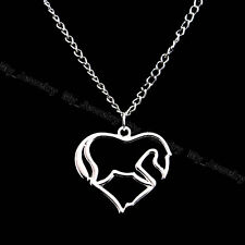 Heart Horse Silver Plated Love Chaorm Alloy Pendant Necklace Gifts Women Party