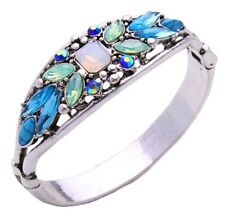 IRIDESCENT BLUE GREEN AB & WHITE CRYSTAL RHINESTONE Silver Cuff Bangle Bracelet