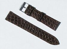 20mm Quality Genuine Leather Thin Brown Crocodile Grain Watch Band - Size Large