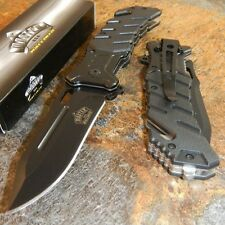 Master Black Tactical Rescue Belt Cutter Spring Assisted Folding Pocket Knife