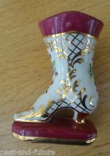 """SEVRES HALLMARKED HAND PAINTED PORCELAIN SHOE ON PLINTHE.  3 3/8"""" TALL"""