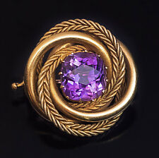 Antique Russian Amethyst Gold Love Knot Brooch Pin