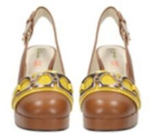 BNIB CLARKS ORLA KIELY BEATRICE SHOES SIZE UK 4.5, US 7, EU 37.5 TAN LEATHER