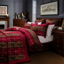 Dorma Lomond Red Check Single Duvet Cover with 1 Pillowcase RRP £39.99 Brand New