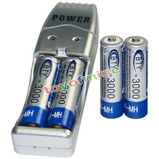 4x AA battery batteries Bulk Rechargeable NI-MH 3000mAh 1.2V BTY + USB Charger