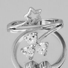 Womens Fashion Rings Clover Five-pointed star Vintage White Gold Filled Size 8