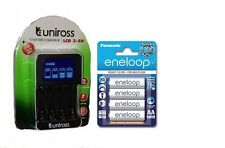 UNiROSS SMART FAST LCD CHARGER 4 x AA  ENELOOP  RECHARGEABLE BATTERIES