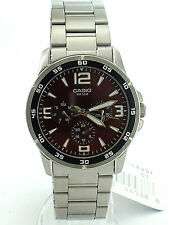 CASIO MTP1299D-4A STAINLESS STEEL BAND RED FACE 3SUBDIAL DAY,DATE NEOBRITE