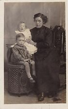 Antique RPPC, Studio Photo Of Mother & Children - Sweet Baby In Frilly Dress