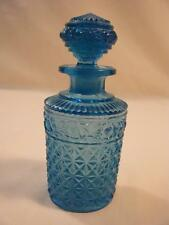 """Antique Blue Pressed Glass Perfume Bottle w/Stopper 4 1/2"""""""