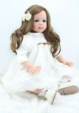 """24"""" Reborn Dolls Toddler Fake Baby Real Life Soft Silicone Vinyl Girl Doll Gifts"""