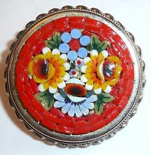 A VINTAGE MOSAIC BROOCH DEPICTING A ROSE & BOUQUET OF FLOWERS